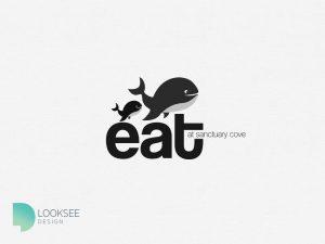 Eat at Sanctuary Cove logo black and white